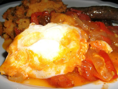 Shakshouka, Mashed Potatoes with Capers & Pomegranate/Curry Lamb Sausages