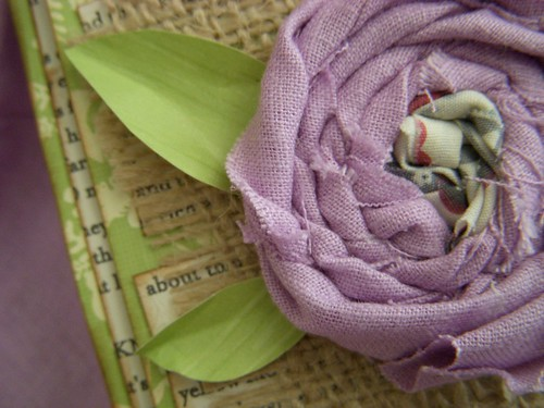 Fabric Flower on Mother's Day Card