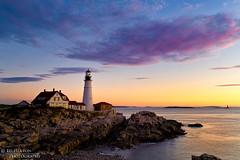 Portland Headlight II (Ed Heaton Photography) Tags: sky lighthouse colors clouds sunrise rocks maine cliffs workshop photoworkshop creativecomposition