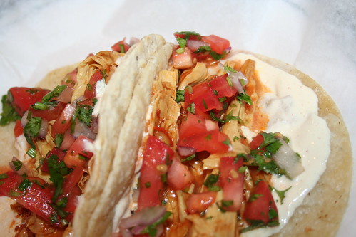 vegan shredded chik'n tacos with pico de gallo, from Chicago's Ste Martaen food truck