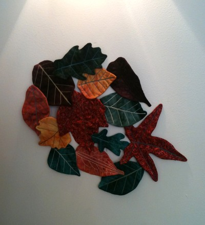 Quilted autumn leaves wall hanging