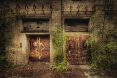 entrance to ... world (gari.baldi) Tags: berlin industry mystery canon germany 350d scary doors factory decay rusty gimp surreal wideangle eerie mysterious dreamy decline garibaldi hdr 2007 pankow lightroom paperwall 3xp photomatix sigma1020 flickrsbest welcometogariswonderland