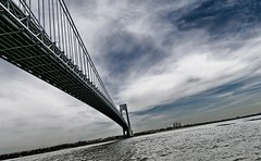 Boating Under The Verrazano Bridge - by Bob Jagendorf