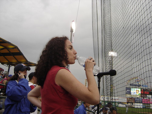 Elisa Before Singing the National Anthem at the Cyclones Game