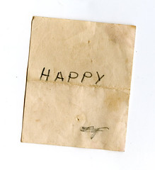 Happy (Katey Nicosia) Tags: handwriting paper note vntage