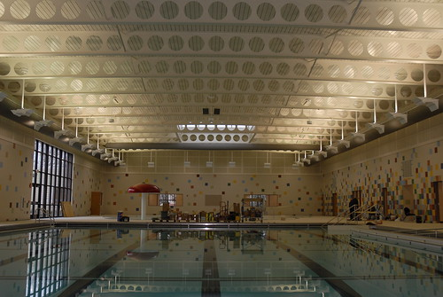 Tiles surround the competition pool