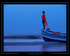 Call Of the Sea (vikram I Click) Tags: morning blue sea beach boat fisherman wind flag wave karde konkan arabiansea canons5is