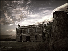 Under Sorrowful Skys (History Rambler) Tags: old house abandoned home architecture clouds rural dusk south northcarolina historic haunted spooky southern cotton plantation weathered antebellum treestump decayed tinroof greekrevival halifaxcounty oncewashome
