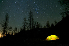 Stargazing (mj.foto) Tags: longexposure night landscape washington unitedstates tent astrophotography cascades orion 24mm constellation stargazing fourseason sierradesigns ingallspass d700