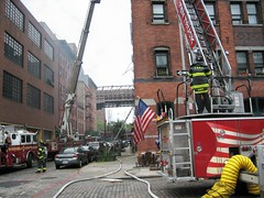 Building Fire near South Street (buff_wannabe) Tags: fire smoke flames nypd fdny