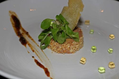 Foie gras, peanuts, apple