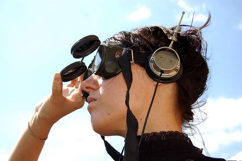 Steampunk gear, flip goggles