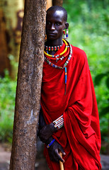 The Silent Masai (| HD |) Tags: africa red people man color 20d canon colorful native kenya african safari mara hd local tribe darwish hamad masai