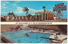 Tampa Motor Lodge (later Econo Lodge, now Quality Inn)  - c. 1960 postcard (JSDesign) Tags: roof pool architecture modern tampa concrete hotel 60s postcard shell motel arches lodge midtown palmtrees vault vaulted henderson googie hospitality sixties aaa midcenturymodern 1960 midcentury econolodge motorlodge barrelvault dalemabry us92 jetton southtampa thinshell tampamotorlodge concreteshell concretelace woodlace thinconcreteshell