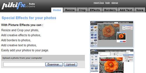 pikifx, editor de imagenes en linea con muchos efectos especiales