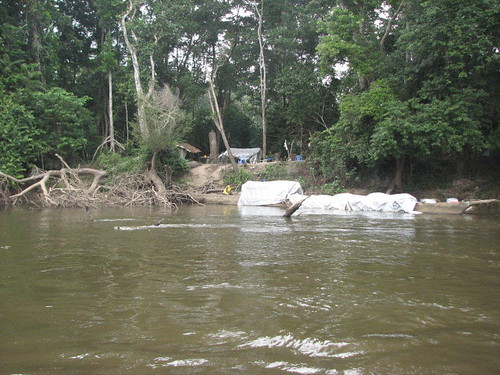 Base camp on the edge of the Lomami river with the giant dugout