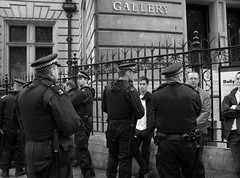at the gallery (ross mcross.) Tags: england london art football gallery soccer drinking police copper leicestersquare fans 12 met footy npg coppers arrested arrest charingcrossroad policeman ho