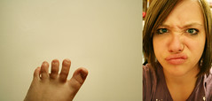 Yuck (helloromeo) Tags: foot toes funnyface diptych face lips scrunch nerd