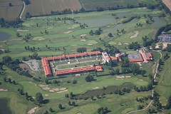 Golfclub Ambrosiano (_ Night Flier _) Tags: above travel sky italy panorama green nature sport river golf airplane landscape flying ticino high view earth top aviation aerial fromabove sporting lombardia cessna skyview lombardy birdeye aeronautic bettola golfclubambrosiano bubbiano