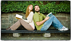 Bibliophiles in Love (Ryan Brenizer) Tags: nyc newyorkcity wedding cute love smile book engagement couple fuji centralpark noflash september 1735mmf28d 2007 bibliophile s5pro korieandjessie