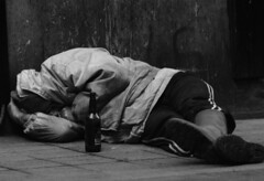 drunkenness (yaln zelik) Tags: blackwhite pavement human taksim earlyriser drunkbeer
