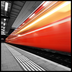 Red Train (Marcel Cavelti) Tags: red blur speed train switzerland action bahnhof explore chur bahn ghosttrain railstation rhb grisons 500x500 aplusphoto rhatische
