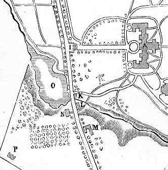 The Vassar Farm in 1867: Farm House 'N', Barn and Stable 'M', Main Building 'A' (Detail from a survey by Vassar's first trigonometry class in Lossing's Vassar College and Its Founder, 1867)
