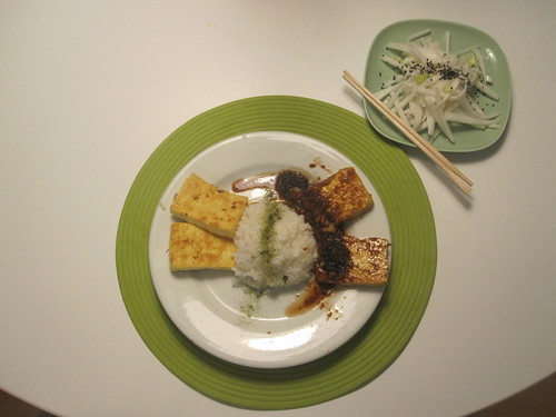 tofu steaks with ginger-garlic sauce, rice with matcha salt, daikon salad