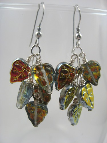 silvery multicolor leaf earrings