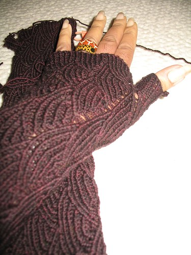 Pomatomus Opera Length Fingerless Gloves