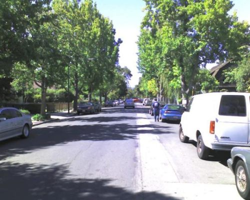 Palo Alto Neighborhood Street in Front of the HP House
