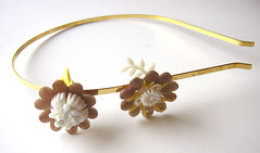 Golden Vintage Flowers Headband