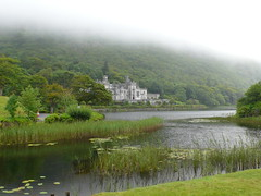 Kylemore Abbey (ccr_358) Tags: trees ireland sky cloud lake green water abbey grass fog clouds grey cloudy foggy atmosphere eire vegetation greysky kylemoreabbey builiding kylemore greybuilding ccr358