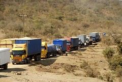 TRUCKING IN TANZANIA (Claude  BARUTEL) Tags: africa road truck tanzania traffic desert off dust jam scania