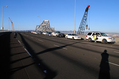 Parked cars on the Bay Bridge (juicyrai) Tags: sanfrancisco bridge shadow geotagged empty baybridge i80 yerbabuena ybi yerbabuenaisland geo:lat=37813166 geo:lon=122361796