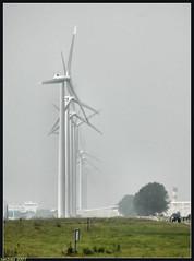 WINDMILLS AND A LITTLE BIT OF FOG (Jan2eke) Tags: lighthouse nikon d70s thenetherlands windmills maeslantkering landtong onlyyourbestshots