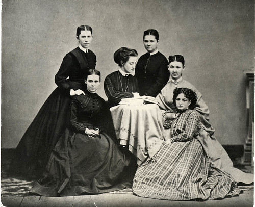 Maria Mitchell's first group of six astronomy students, known as the Hexagon. Mary Whitney, Maria Mitchell's successor, is seated in the center.