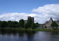 St Andrews Cathedral - and Ness Walk - looking across the River Ness from Ness Bank - Inverness Scotland