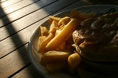 Steak and Ale Pie and Chips (Johnny Leftlung) Tags: wood food reflection dinner bench pie table glasses pub yum chips severn steak meal publunch steakandalepie riverandrail otherhalfsfood