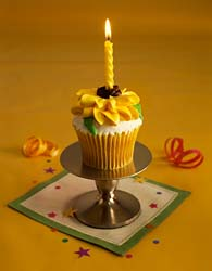 Flower Cupcake with candle and stand
