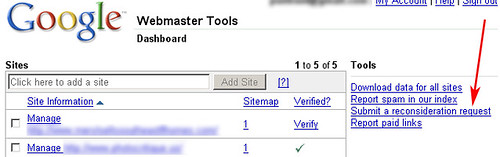 Google Webmaster Central: Reinclusion Option