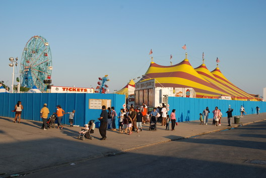 Circus and Blue Fence