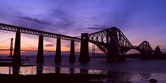 Bridges Sunset (philzero) Tags: road bridge river scotland edinburgh suspension south rail forth canonef2470mmf28lusm queensferry cantilever