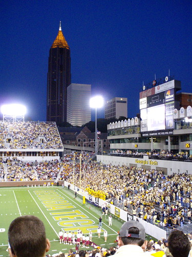 Bobby Dodd stadium at dusk