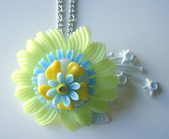 Yellow and Blue Vintage Flowers Necklace