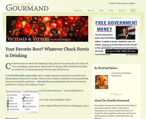 Screenshot of The Humble Gourmand with AddThis