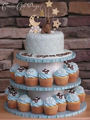 Baptism Boy Cupcake Tower (Christina's Dessertery) Tags: bear blue boy cloud baby brown moon white tower cake stars cross loop crosses diamond baptism cupcake quilting christening loopy fondant gumpaste christinajohnson dragees creativecakedesigns