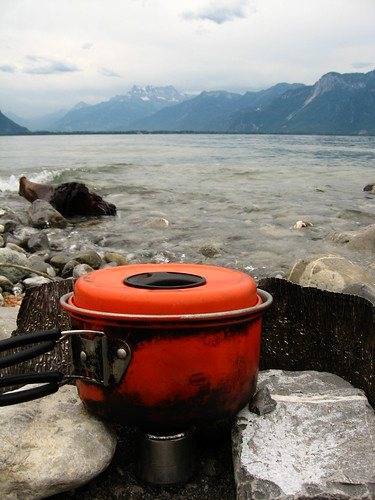 Red Bull can stove going strong on the shores of Lake Geneva, Switzerland