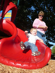 Whee! (Jeff Youngstrom) Tags: boy playground mom nathan slide karen issaquah memorialfield