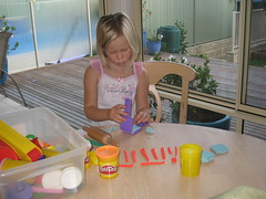 Christy with playdough